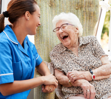 happy patient with the caregiver